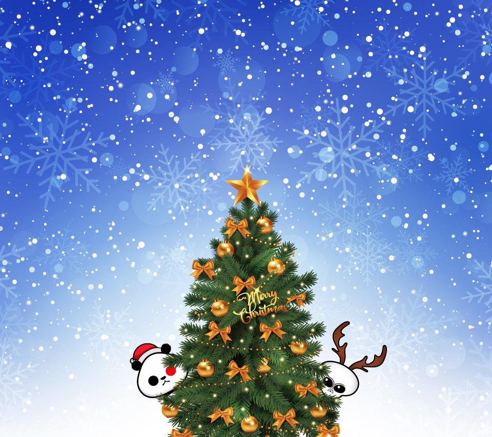 ゆるパンダとグレーの無料スマホ壁紙 クリスマス特集 ゆるパンダオフィシャル Yurupan News Doga ゆるパンニュース